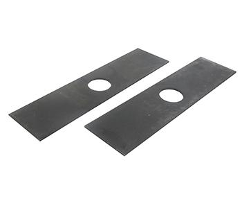 Set van 2 kantensnijdermessen voor ECHO. Lengte: 198 mm, breedte: 50 mm, dikte: 2,5 mm, asgat: 25 mm. Vervangt origineel 69601552632