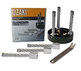Onkruidborstel OZAKI met drie metalen borstels, Ø130mm, boring 20/25,4mm voor machines JONSERED, KOMATSU, SHINDAIWA en TANAKA. Voor machines van 2,5 PK en meer.