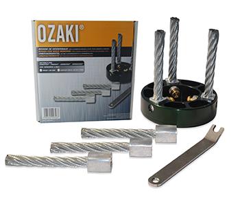 WEEDGO onkruidborstel met drie metalen borstels, Ø130mm, boring 20mm voor DOLMAR, ECHO, JONSERED en STIHL machines. Vanaf 40 cc. Inclusief 3 vervangborstels en bevestigingssleutel.