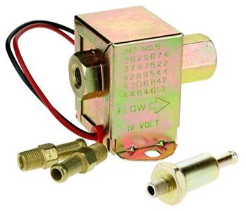 Elektrische benzinepomp voor zitmaaiers universeel 12v. vervangt general motors 3629674, 3797522, 4299544, 4306842, 4464613.