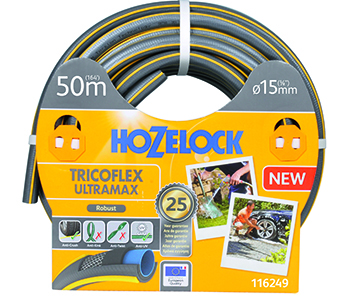 Sproeislang TRICOFLEX ULTRAMAX HOZELOCK met 5 gevlochten lagen, robuste en knik- en torsievast, grijs met gele 3D opdruk.  Ø15mm x L 50m.