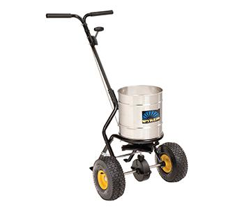 Push spreader semi-pro, 22 kg capacity, Powder coated frame,  Stainless steel round hopper, Spreading width 1,2 - 3,7 m, aluminium gears, 10